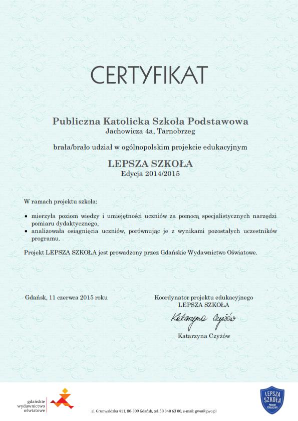 certyfikat ls 2014 2015