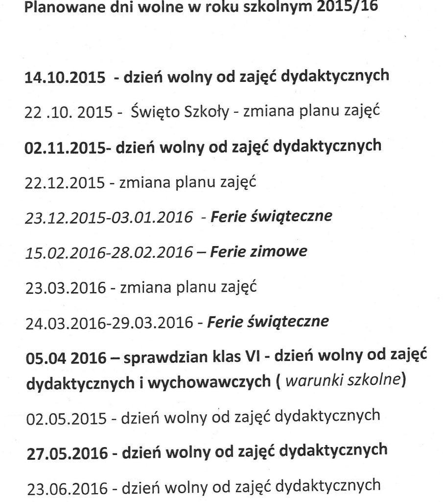 dni wolne2015